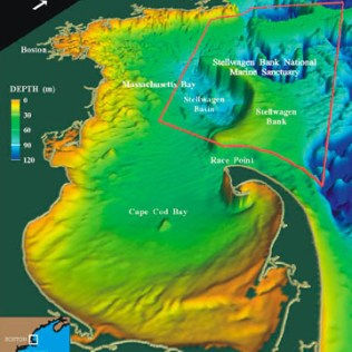 The Gerry E. Studds/Stellwagen Bank National Marine Sanctuary (Source: Map by the U.S. Geological Survey on NOAA National Marine Sanctuaries)