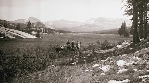 Frederick Law Olmsted with the Colfax party in Yosemite, 1865.