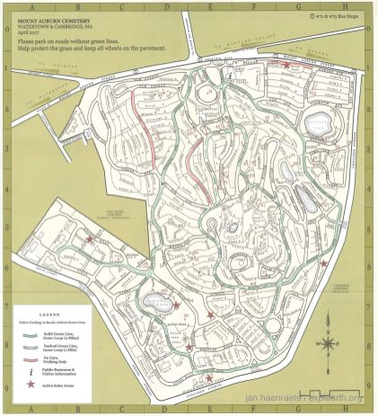 Map of the cemetery (Source: Mount Auburn Cemetery Leaflet)
