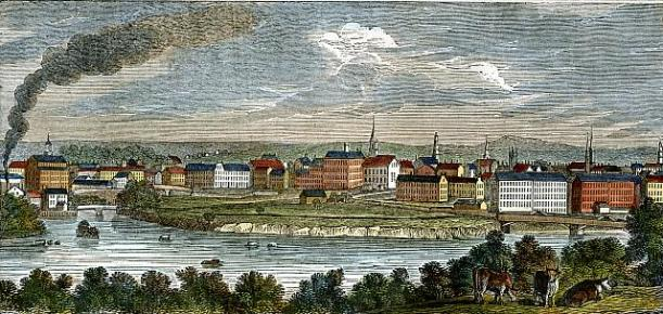 """A wood engraving from 1839 by Edmund L. Barber named """"East View of Lowell, Mass."""" (Source: University of Massachusetts)."""