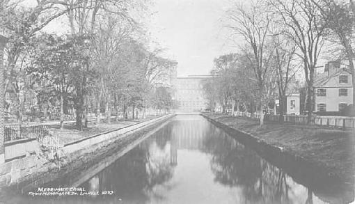 The Merrimack Canal in Lowell around 1892 (Source: University of Massachusetts).
