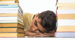 Student sleeping in the library