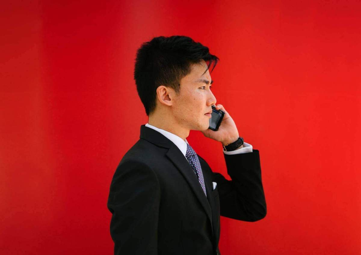 businessman making calls