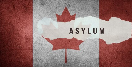 Asylum on Canadian flag.