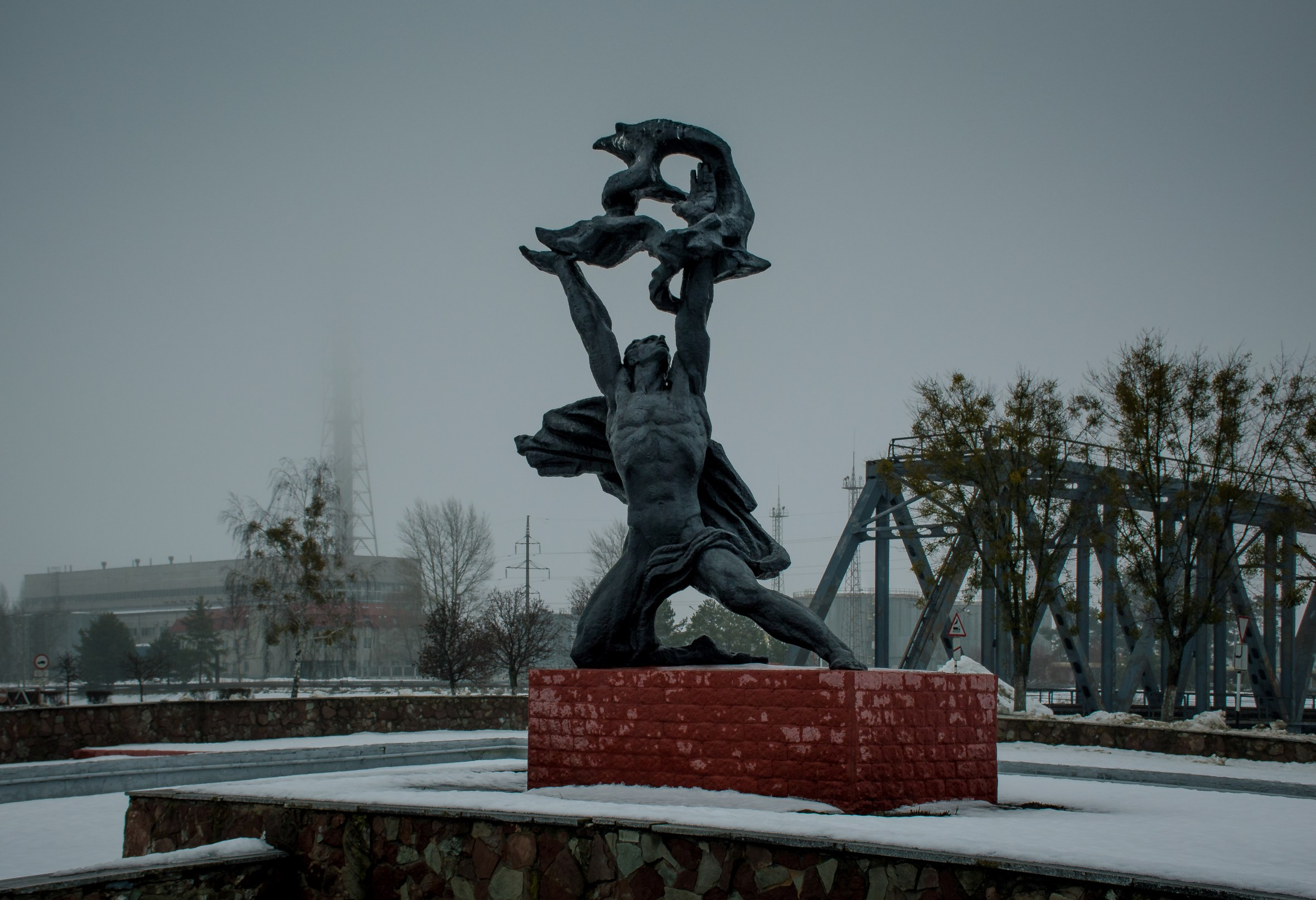 Statue of Prometheus in Chernobyl