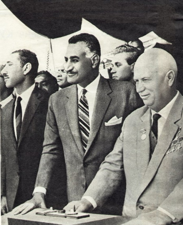 Nasser with Nikita Khruschev at the Aswan High Dam