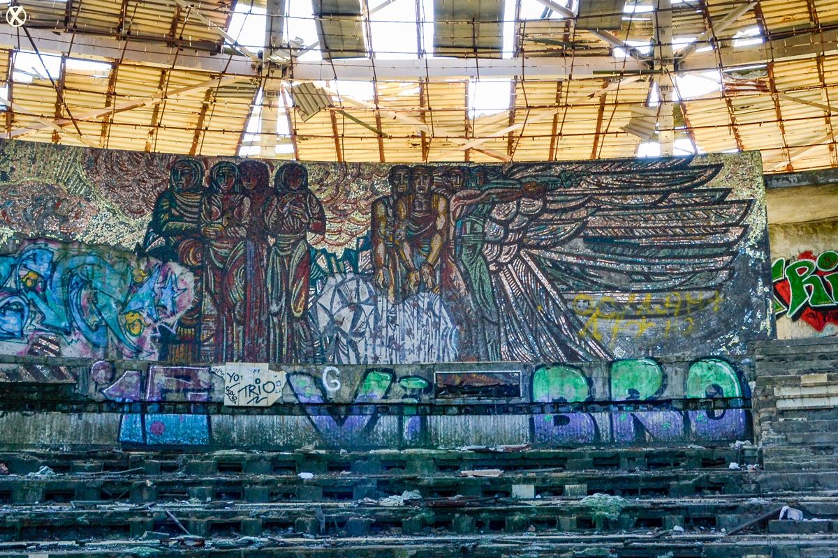 The ornate mosaics inside Buzludzha's assembly hall