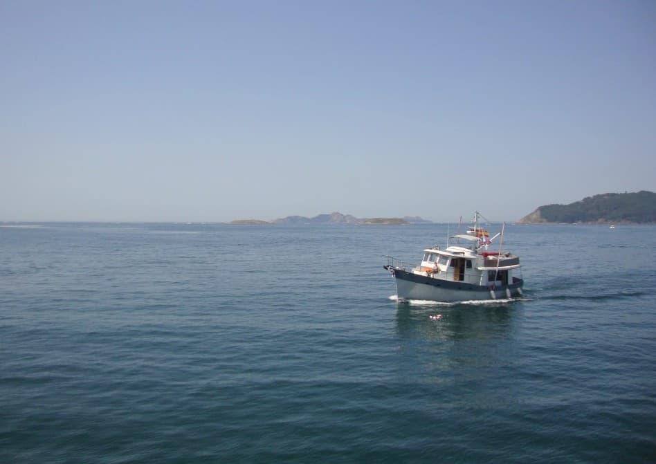 Vista do ferry durante a viagem para as Ilhas Cíes