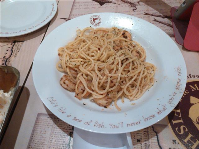 spaghetti udang