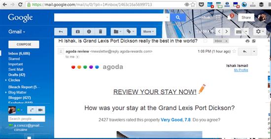 borang survey akan di emel untuk anda memberi komen tentang hotel oleh pihak Agoda jika anda menempah menggunakan laman Agoda