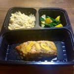 Quinoa with Chickpeas & Corn, Apricot Ginger Salmon, Yellow Zucchini & Baby Spinach