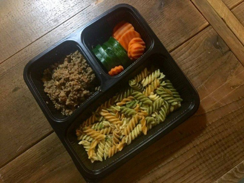 Tricolor Fussili, Mince Beef with Basil, Carrot & Green Zucch