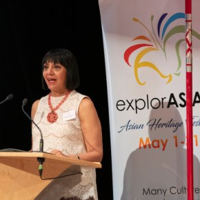 Leticia Sanchez Speaking about the Vancouver Asian Heritage Month in 2019.