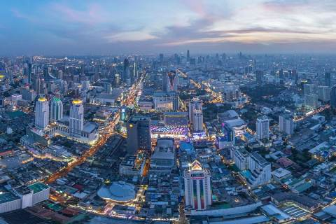 Bangkok From the Sky at Sunset, Thailand