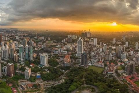 Kuala Lumpur From The Sky At Sunset, Malaysia