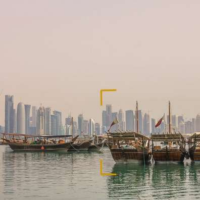 Here the goal was to show that Doha is quite impressive with all its skyscrapers. Instead of just showing the buildings, it was more interesting to showcase these traditional wooden boats in the foreground. It tells the story of the mix of tradition and modernity in Qatar.