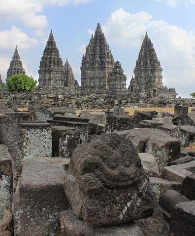 Prambanan Temples, Indonesia. This carved stone features a really nice texture, and it is a well found subject for the foreground.