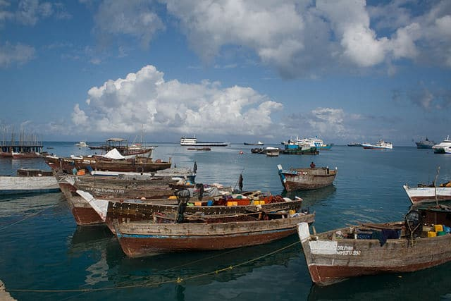 boats in Zanzibar's harbor