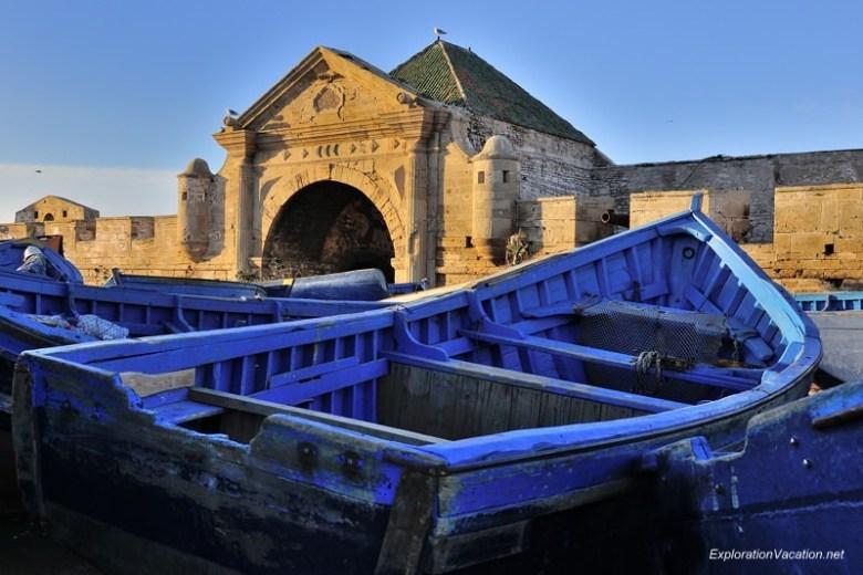 Morocco 4 DSC_8598 blue boats in Essaouira's harbor