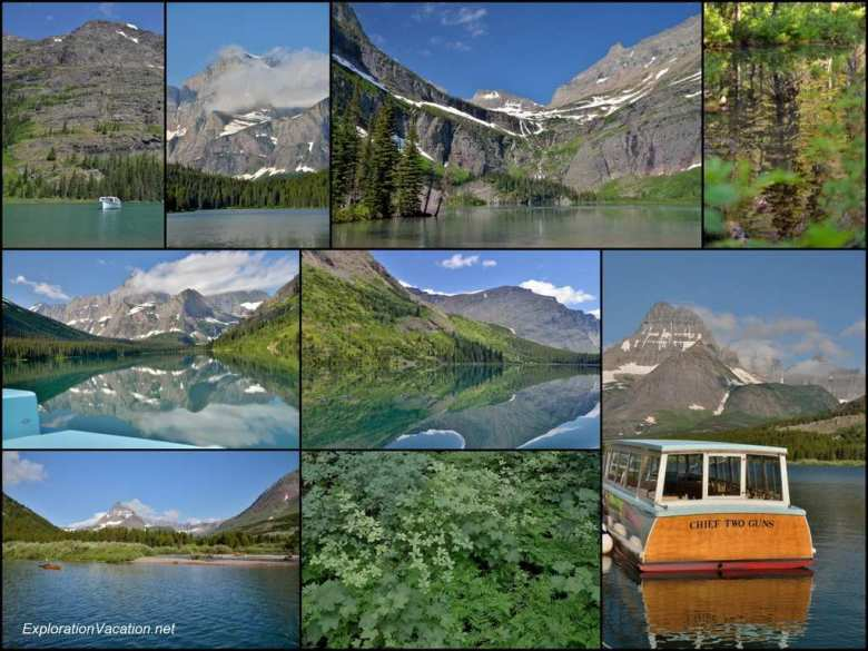 Collage - July 11 - Many Glaciers boat tour in Glacier National Park - ExplorationVacation