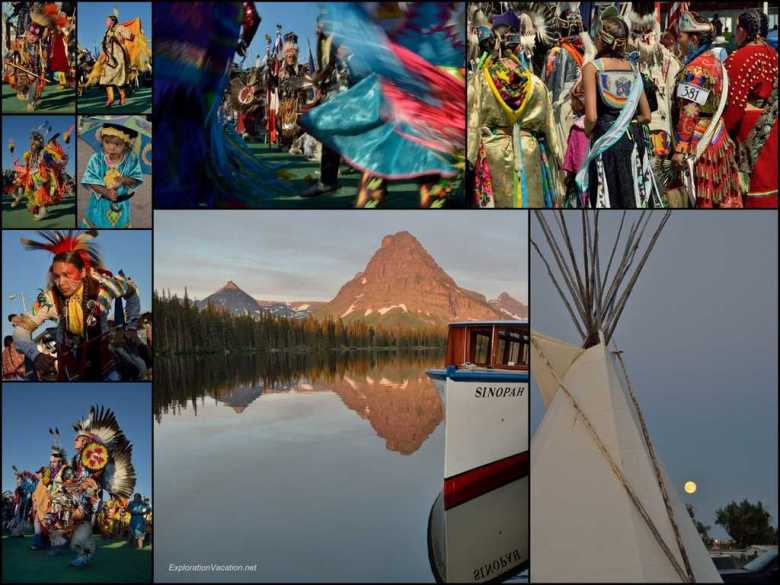 Collage - July 12 - pow-wow at American Indian Days in Browning MT - ExplorationVacation