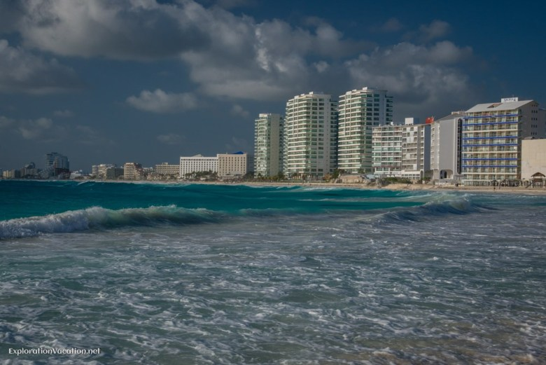 Cancun hotels tower above the beach - ExplorationVacation.net