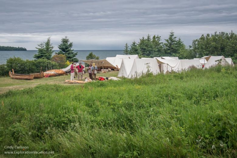 Voyageur tents along the shore at Grand Portage Minnesota