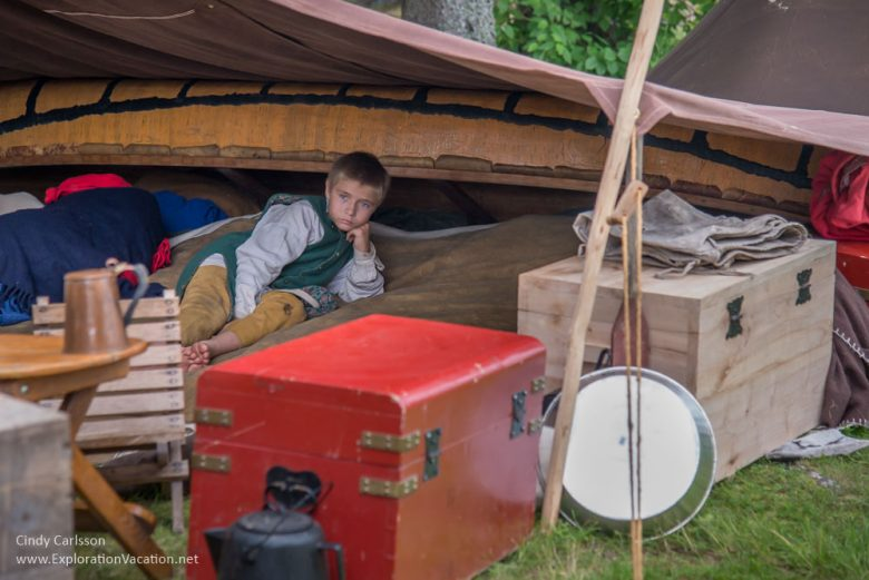 Child at the Voyageurs camp at Grand Portage Monument Minnesota