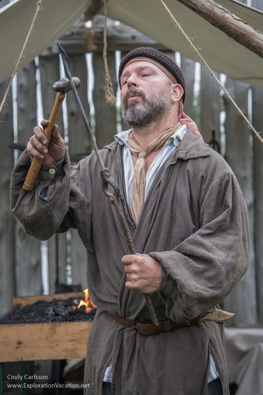 blacksmith at the Voyageurs camp at Grand Portage Monument Minnesota