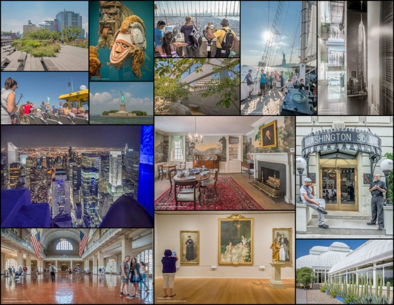 collage of NYC attractions