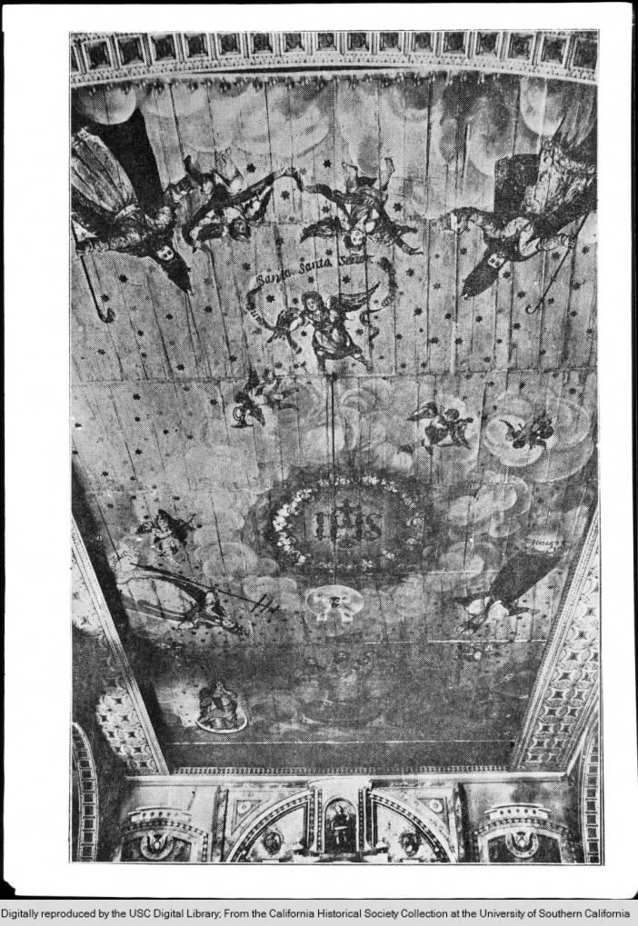 Ceiling of Mission Santa Clara looking towards the altar, ca.1900