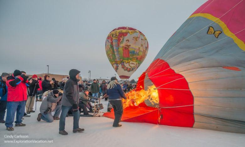 burner working to heat a balloon