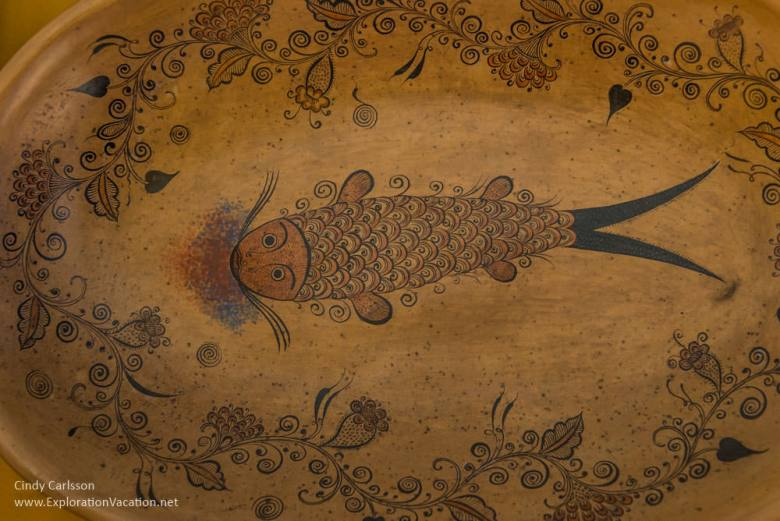 plate painted with a fish