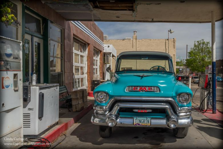 restored truck at the historic copper gas station in Clarkdale AZ
