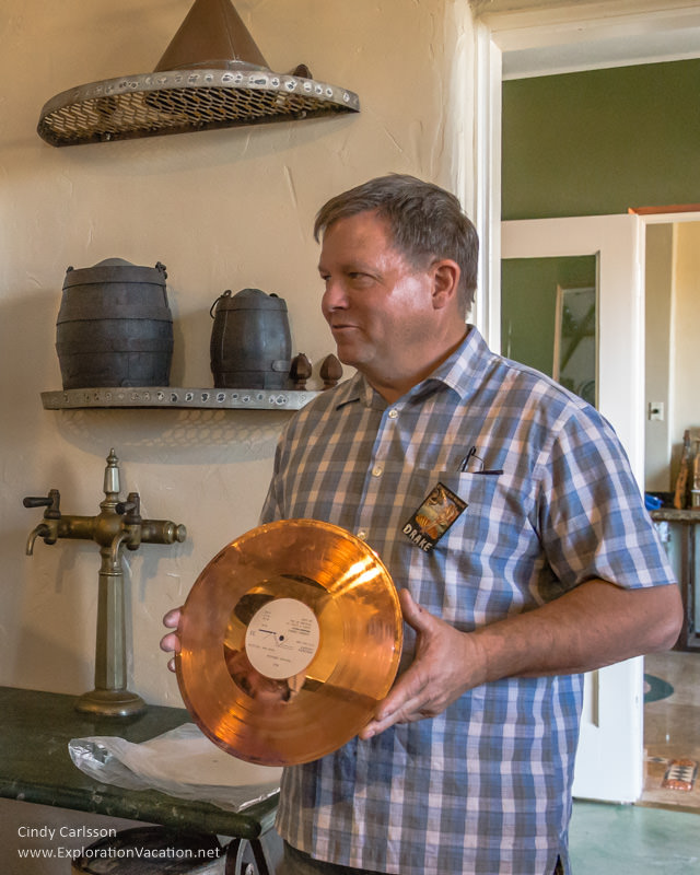 Copper Museum founder with a copper recording - ExplortionVacation.net