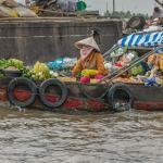 food for sale Cai Rang market Mekong Delta Vietnam - ExplorationVacation.net