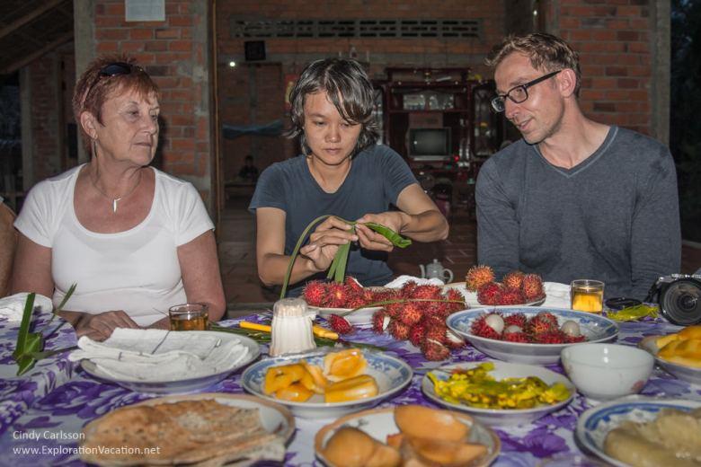 fruit tasting Mekong Delta Vietnam - ExplorationVacation.net