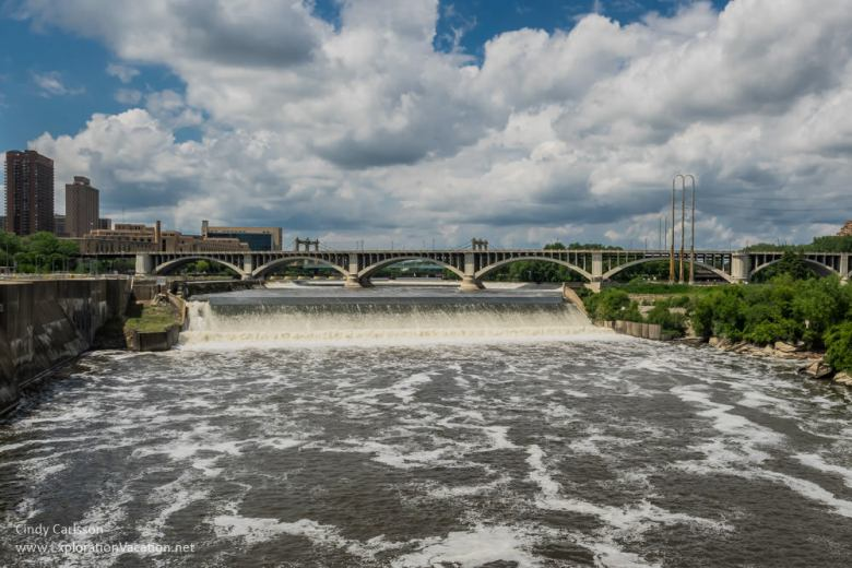 St Anthony Falls from the Stone Arch Bridge Minneapolis segway tour -ExplorationVacation.net