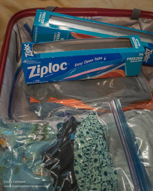 Ziplock packing - Suitcase packed using Zip lock bags - ExplorationVacation.net