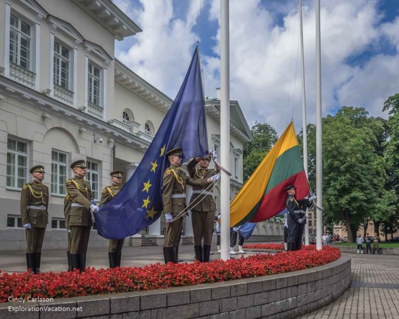 flag ceremony Presidential Palace Vilnius Lithuania Old Town - www.ExplorationVacation.net