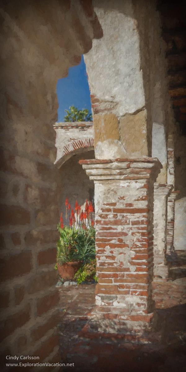 Hidden garden at Mission San Juan Capistrano on the California Mission Trail - ExplorationVacation