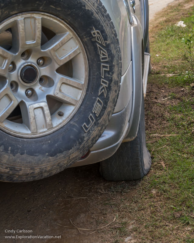 flat tire Northern Vietnam - ExplorationVacation