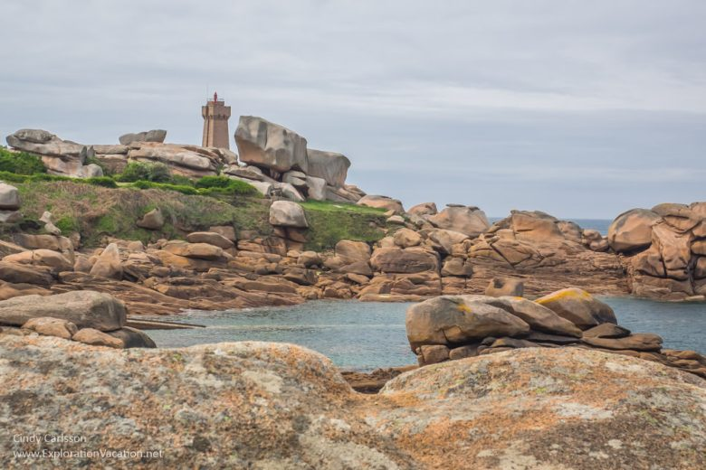The Ploumanac'h lighthouse along the Pink Granite Coast (Côte de Granit Rose) Brittany France - www.ExplorationVacation.net