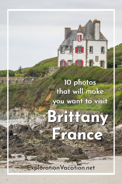 Photo of a house on a green hill above Brittany's coast