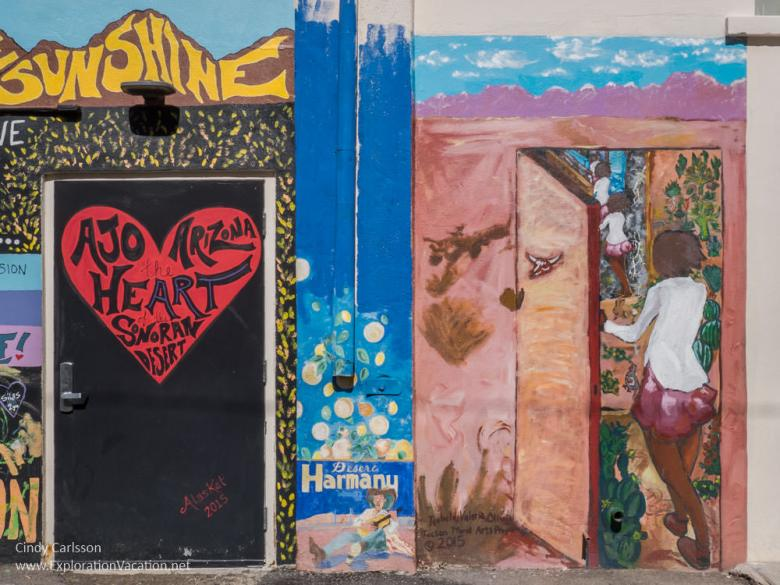 "Street art in Ajo Arizona ""heART of the Desert"" by Kat Anderson (AlasKat) and ""Doors of Perception"" by Valeria and Isabella H - ExplorationVacation.net"
