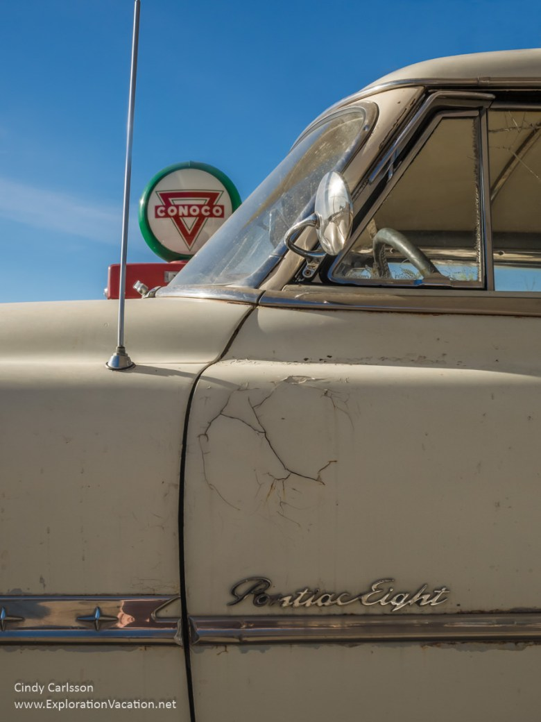 Classic car along historic Route 66 in Tucumcari New Mexico - ExplorationVacation.net