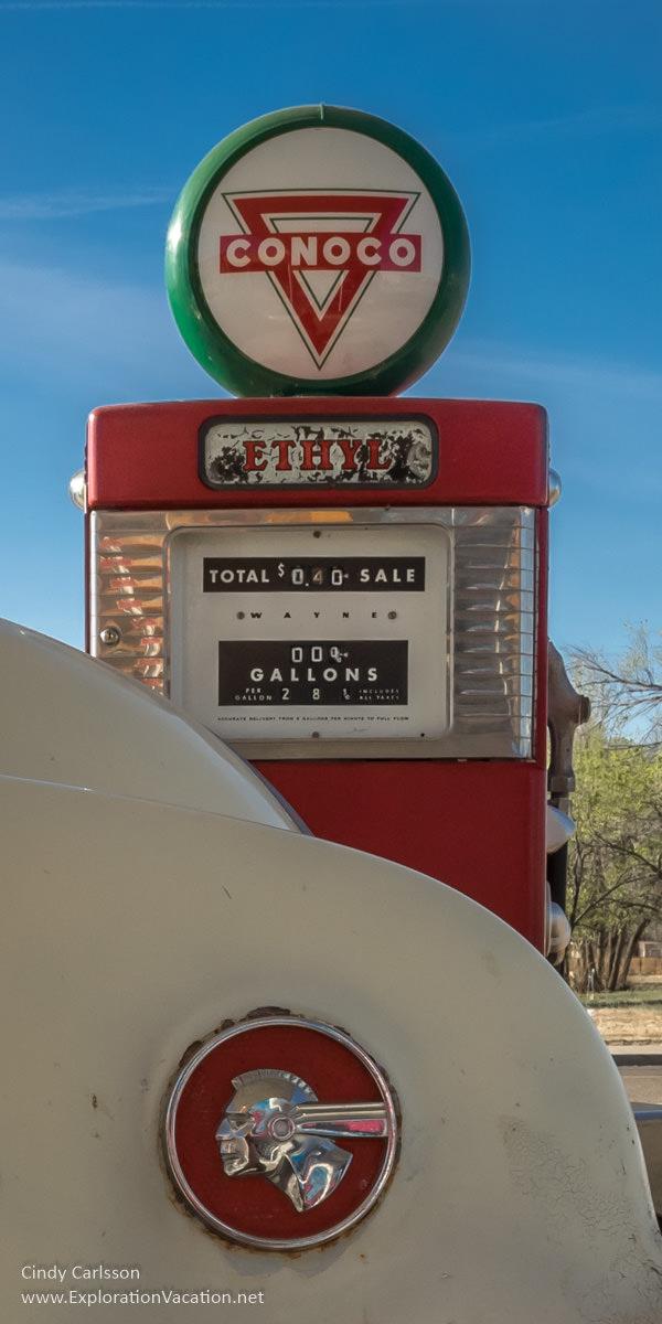 Vintage gas pump along historic Route 66 in Tucumcari New Mexico - ExplorationVacation.net