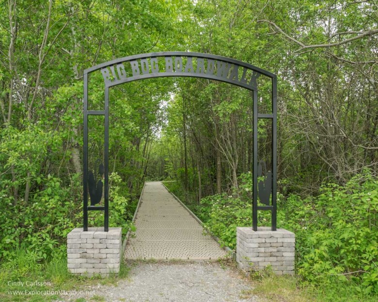 Entrance to the boardwalk that leads into the Big Bog - ExplorationVacation.net