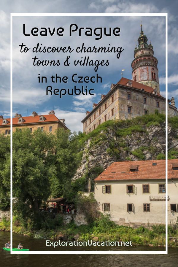 Photo of Český Krumlov, looking up toward the castle