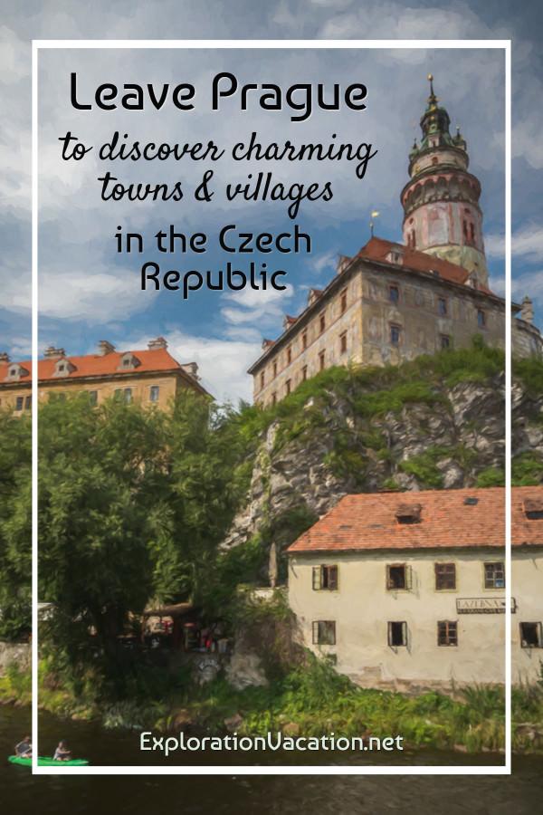 Photo painting of Český Krumlov, looking up toward the castle